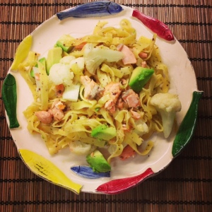 Fettucine with Salmon Avocado and Cauliflower. Ready to be nomzzz